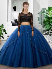 Custom Design Blue Backless Vestidos de Quinceanera Lace and Ruching Long Sleeves Floor Length