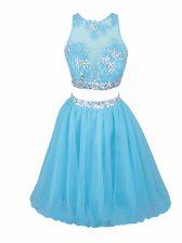 Superior Aqua Blue Tulle Side Zipper Scoop Sleeveless Mini Length Evening Dress Beading