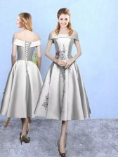 Inexpensive Appliques Quinceanera Court of Honor Dress Silver Lace Up Sleeveless Tea Length