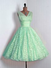 Flare Mini Length Lace Up Court Dresses for Sweet 16 Apple Green for Prom and Party and Wedding Party with Lace