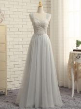 Floor Length Grey Quinceanera Court Dresses Tulle Sweep Train Sleeveless Lace