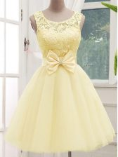 Best Knee Length Light Yellow Vestidos de Damas Tulle Sleeveless Lace and Bowknot