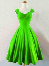Glorious Straps Sleeveless Lace Up Dama Dress Green Taffeta