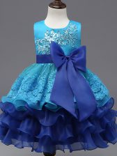 New Arrival Tea Length Ball Gowns Sleeveless Royal Blue Pageant Gowns For Girls Zipper
