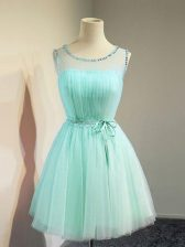 Apple Green Empire Belt Quinceanera Dama Dress Lace Up Tulle Sleeveless Knee Length