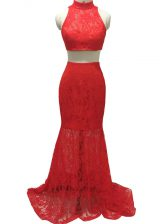 Sleeveless Lace Zipper Prom Party Dress with Red Brush Train