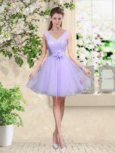 Knee Length Lilac Vestidos de Damas Tulle Sleeveless Lace and Belt