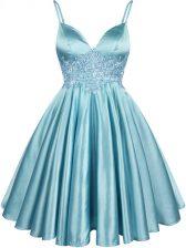 Nice Aqua Blue Lace Up Spaghetti Straps Lace Dama Dress Elastic Woven Satin Sleeveless