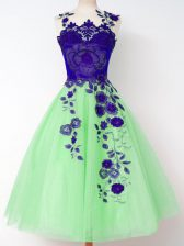 Simple Sleeveless Appliques Knee Length Quinceanera Dama Dress