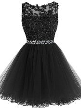 Luxury Sleeveless Tulle Mini Length Zipper Evening Dress in Black with Beading and Lace and Appliques