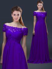 Captivating Purple Empire Appliques Evening Dress Lace Up Chiffon Short Sleeves Floor Length