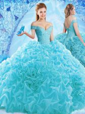 Amazing Aqua Blue Cap Sleeves Ruffles and Pick Ups Lace Up Sweet 16 Quinceanera Dress