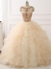 Sleeveless Sweep Train Lace Up Beading and Ruffles Quinceanera Dresses