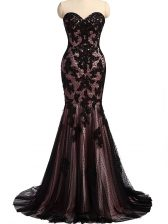Black Lace Up Prom Gown Lace and Appliques Sleeveless Brush Train