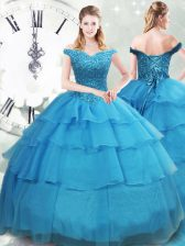 Sleeveless Organza Brush Train Lace Up Quince Ball Gowns in Baby Blue with Beading and Ruffled Layers