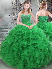 Exquisite Green Lace Up Sweetheart Beading and Ruffles Sweet 16 Dresses Organza Sleeveless