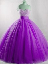 High End Eggplant Purple Ball Gowns Beading 15th Birthday Dress Lace Up Tulle Sleeveless Floor Length