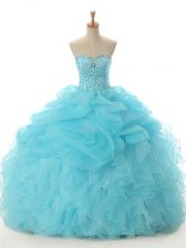 Aqua Blue Lace Up Quinceanera Gowns Beading and Ruffled Layers Sleeveless Floor Length