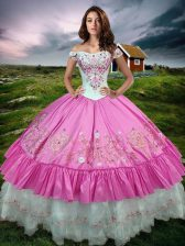 Ball Gowns Quinceanera Gown Rose Pink Off The Shoulder Taffeta Sleeveless Floor Length Lace Up
