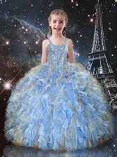 High Quality Sleeveless Beading and Ruffles Lace Up Little Girl Pageant Dress
