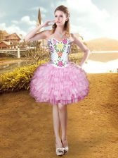 Fashionable Sleeveless Organza Mini Length Lace Up Prom Party Dress in Lilac with Embroidery and Ruffled Layers