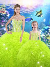 Floor Length Lace Up Sweet 16 Dresses Yellow Green for Military Ball and Sweet 16 and Quinceanera with Beading and Ruffles