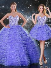 Floor Length Lace Up Quinceanera Dresses Purple for Military Ball and Sweet 16 and Quinceanera with Embroidery