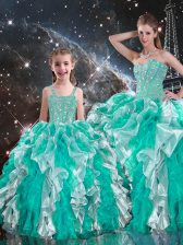 Custom Design Multi-color Sleeveless Floor Length Beading and Ruffles Lace Up Quinceanera Dresses