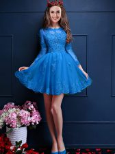 Chiffon Scalloped 3 4 Length Sleeve Lace Up Beading and Lace and Appliques Quinceanera Court of Honor Dress in Teal