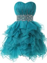 Teal A-line Organza Sweetheart Sleeveless Beading and Ruffles and Ruching Lace Up Prom Dresses