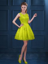 Scoop Sleeveless Damas Dress Knee Length Lace and Ruffled Layers Yellow Green Tulle