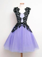 High Class Knee Length Lavender Quinceanera Court of Honor Dress Straps Sleeveless Lace Up