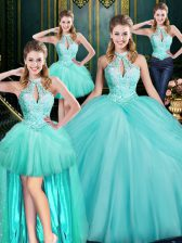 Cheap Aqua Blue Sleeveless Tulle Lace Up Quinceanera Dress for Military Ball and Sweet 16 and Quinceanera
