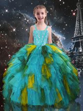 Aqua Blue Lace Up Straps Beading and Ruffles Little Girls Pageant Dress Tulle Short Sleeves