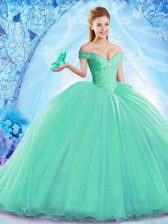 High Class Turquoise Quince Ball Gowns Military Ball and Sweet 16 and Quinceanera with Beading Off The Shoulder Sleeveless Brush Train Lace Up