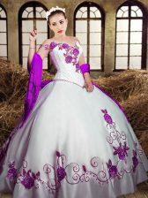Amazing White Taffeta Lace Up 15th Birthday Dress Sleeveless Floor Length Embroidery