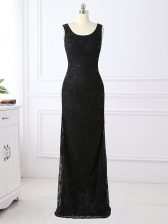 High Quality Black Column/Sheath Lace Prom Dress Zipper Lace Long Sleeves Floor Length
