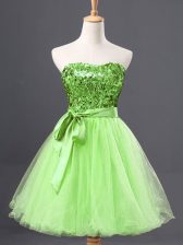 Eye-catching Sashes ribbons and Sequins Evening Dress Yellow Green Zipper Sleeveless Mini Length
