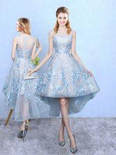 Light Blue Zipper Court Dresses for Sweet 16 Appliques Sleeveless High Low
