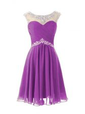 Chiffon Cap Sleeves Knee Length Dress for Prom and Beading