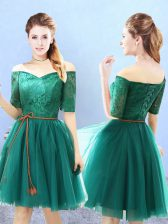 Green Half Sleeves Tulle Lace Up Dama Dress for Quinceanera for Prom and Party
