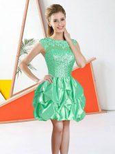 Apple Green Sleeveless Knee Length Beading and Lace and Ruffles Backless Vestidos de Damas