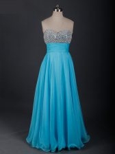 Floor Length Lace Up Dress for Prom Baby Blue for Prom and Military Ball and Sweet 16 with Beading
