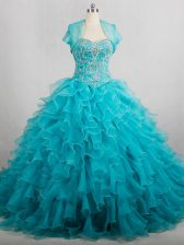 Fancy Lace Up Quince Ball Gowns Aqua Blue for Sweet 16 and Quinceanera with Beading and Ruffles Brush Train