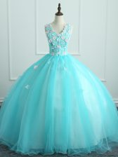 Floor Length Aqua Blue 15th Birthday Dress V-neck Sleeveless Lace Up