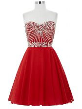 Smart Red A-line Beading Homecoming Dress Lace Up Chiffon Sleeveless Mini Length