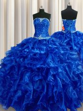 Fantastic Royal Blue Ball Gowns Strapless Sleeveless Organza Floor Length Lace Up Beading and Ruffles Vestidos de Quinceanera