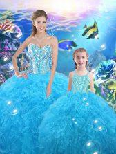 Baby Blue Sleeveless Floor Length Beading and Ruffles Lace Up 15th Birthday Dress