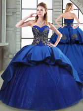 Chic Blue Lace Up 15 Quinceanera Dress Beading and Appliques and Embroidery Sleeveless Court Train