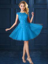 Bateau Cap Sleeves Lace Up Damas Dress Baby Blue Tulle